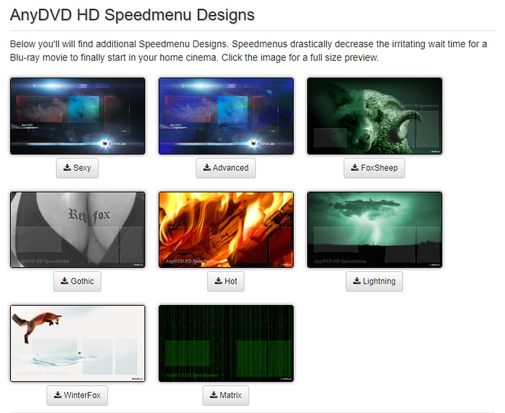 AnyDVD HD Hastighed Menu Design